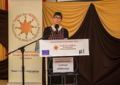 PBI Kenya's Coordinator Sabine Guenther welcomed the audience, explained how the idea of a Toolkit came into existence and set the scene for joint collaboration to address the needs of WHRDs in Kenya.